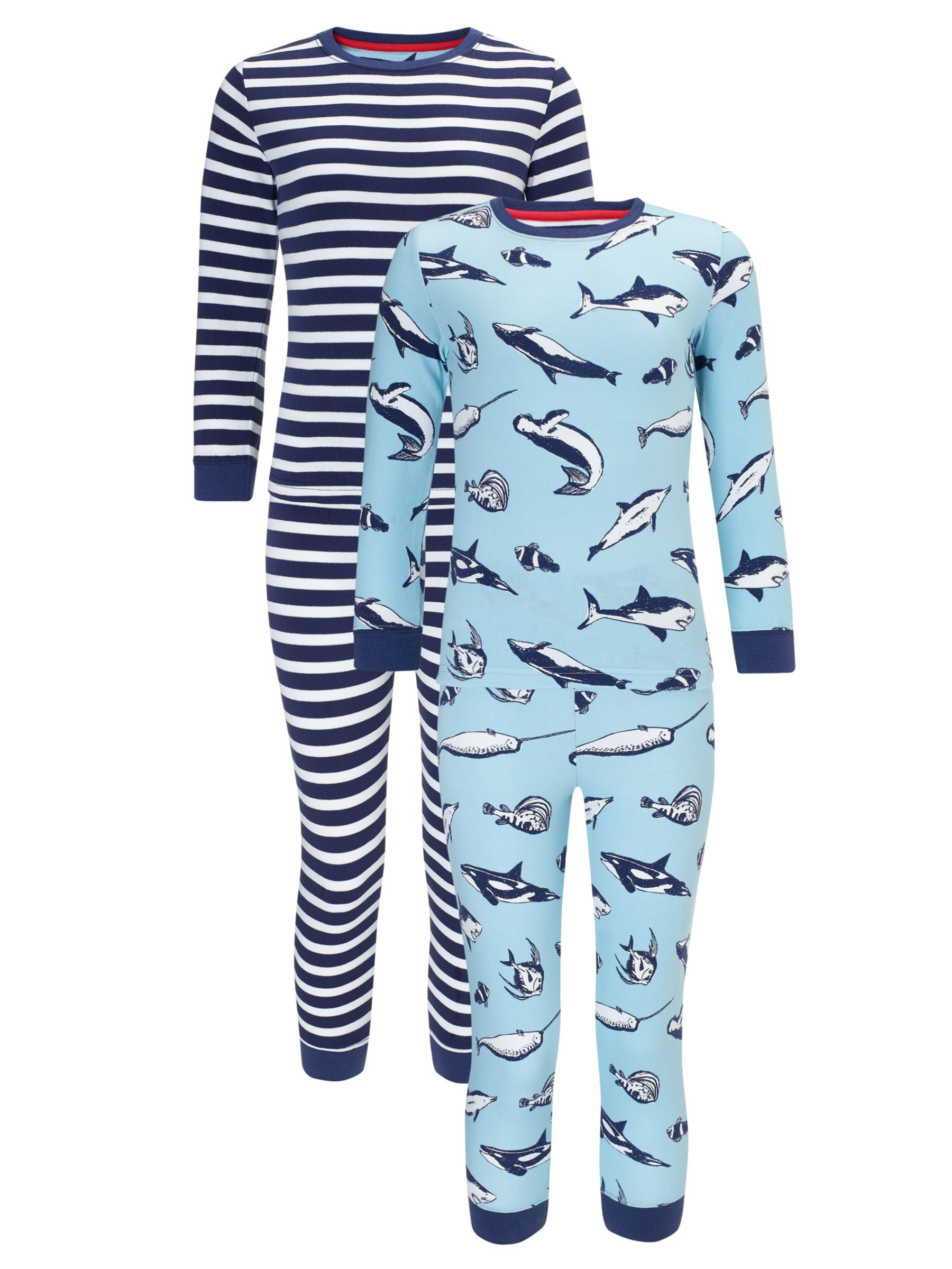 John Lewis Boy Shark and Stripe Pyjamas, Pack of 2, Blue/White