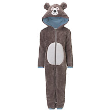 Buy John Lewis Hooded Bear Onesie, Brown Online at johnlewis.com