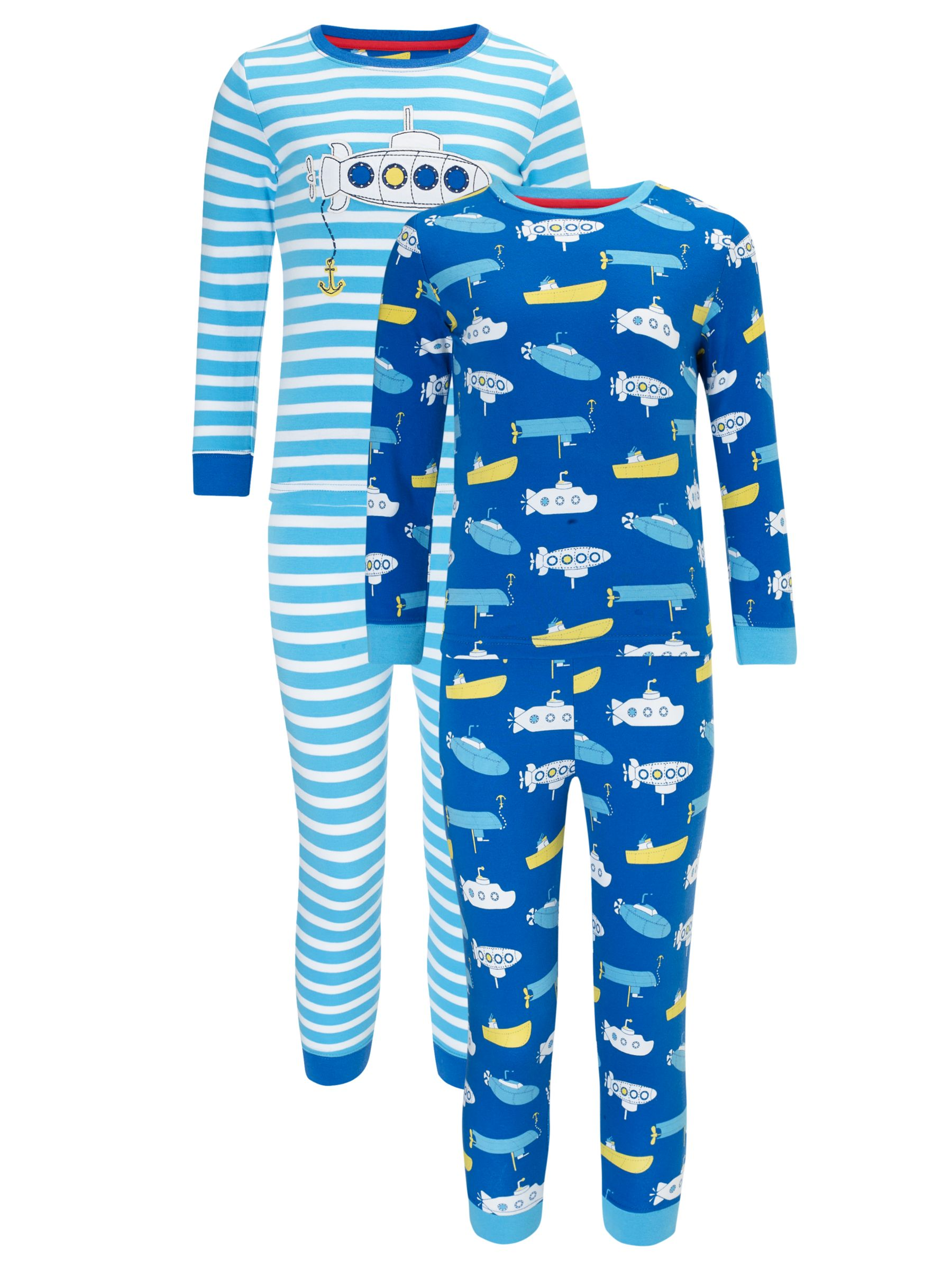 John Lewis Boy Submarine Pyjamas, Pack of 2, Blue/White