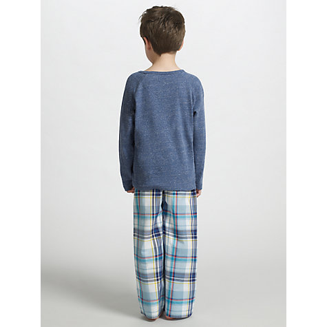 Buy John Lewis Boy Jersey Check Pyjamas, Blue Online at johnlewis.com