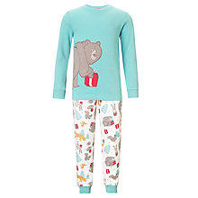 Buy John Lewis Christmas Bear Pyjamas, Aqua/Multi Online at johnlewis.com