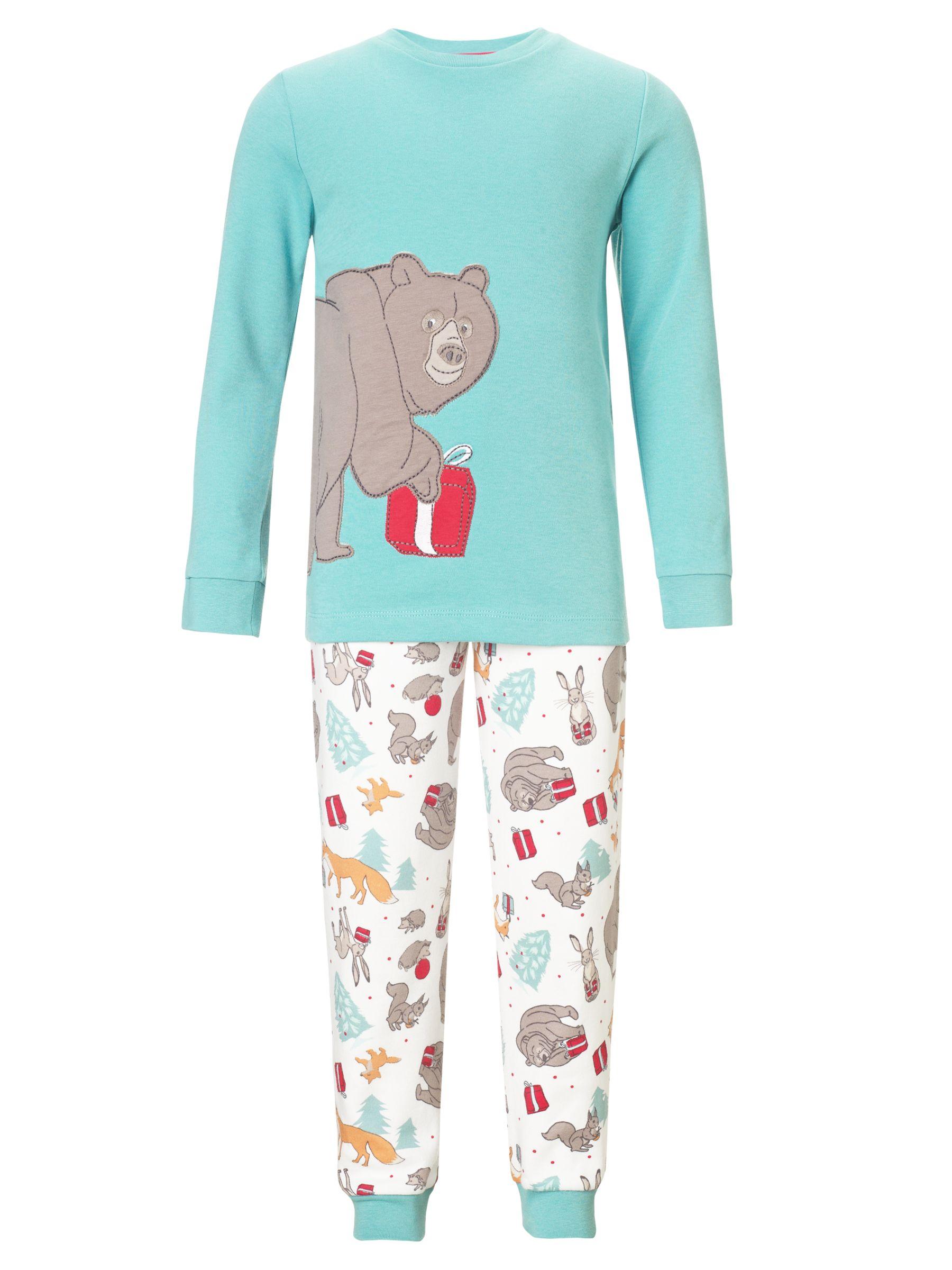 John Lewis Christmas Bear Pyjamas, Aqua/Multi