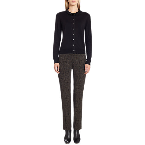 Buy Jigsaw Print Tailored Trousers, Black Online at johnlewis.com