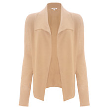 Buy Jigsaw Melange Rib Drape Cardigan, Camel Online at johnlewis.com