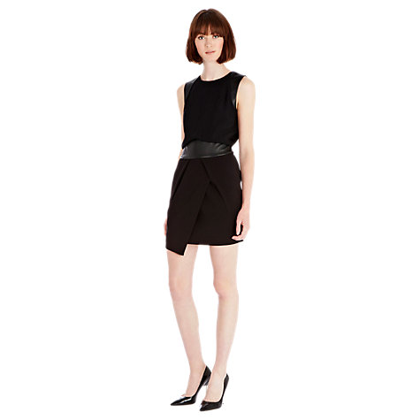 Buy Warehouse Faux Leather Detail Dress, Black Online at johnlewis.com
