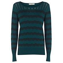 Buy Oasis Lace Print Top, Turquoise Online at johnlewis.com
