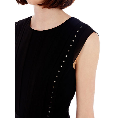 Buy Warehouse Chiffon Pleated Stud Dress, Black Online at johnlewis.com