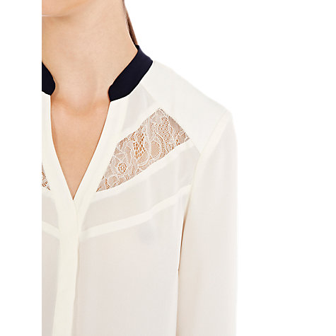 Buy Warehouse Lace and Crepe Peter Pan Blouse, Cream Online at johnlewis.com