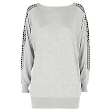 Buy Warehouse Embroidered Sleeve Jumper, Grey Online at johnlewis.com