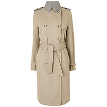 Buy Jaeger Dogstooth Contrast Trench Coat, Stone Online at johnlewis.com