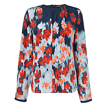 Buy Jaeger Watercolour Blouse, Navy Online at johnlewis.com
