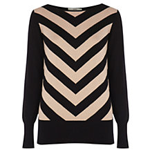 Buy Oasis Striped Jumper, Black/Cream Online at johnlewis.com