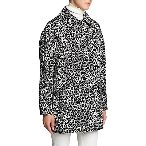 Buy Mango Leopard Print Oversized Coat, Black Online at johnlewis.com