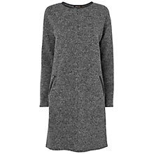 Buy Jaeger Wool Leather Trim Dress, Grey Online at johnlewis.com