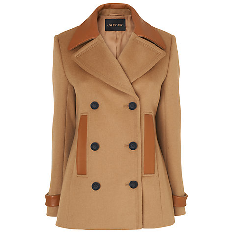 Buy Jaeger Leather Trim Pea Coat, Camel Online at johnlewis.com