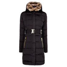 Buy Mango Belted Feather & Down Filled Coat, Black Online at johnlewis.com