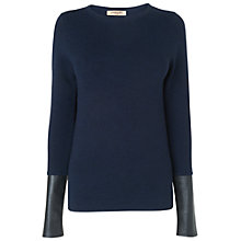 Buy Jaeger Leather Sleeve Jumper, Navy Online at johnlewis.com