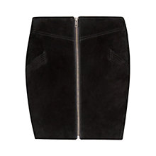 Buy Mango Leather Zipper Skirt, Black Online at johnlewis.com