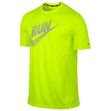 Buy Nike Running Legend Reflective Swoosh T-Shirt, Green Online at johnlewis.com
