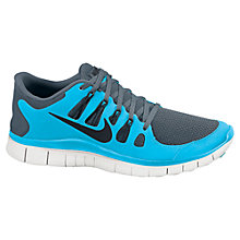 Buy Nike Men's Free 5.0+ Running Shoes, Navy/Aqua Online at johnlewis.com