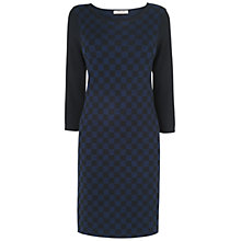 Buy Jaeger Check Knitted Dress, Navy Online at johnlewis.com