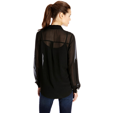 Buy Oasis Chiffon Wrap Shirt, Black Online at johnlewis.com