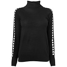 Buy Jaeger Square Lace Sleeve Top, Black Online at johnlewis.com