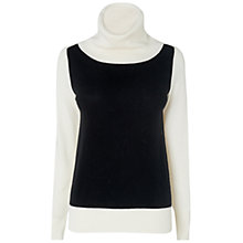 Buy Jaeger Colour Block Cowl Sweater, White Online at johnlewis.com