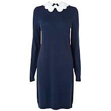 Buy Jaeger Scallop Collar Dress, Navy Online at johnlewis.com