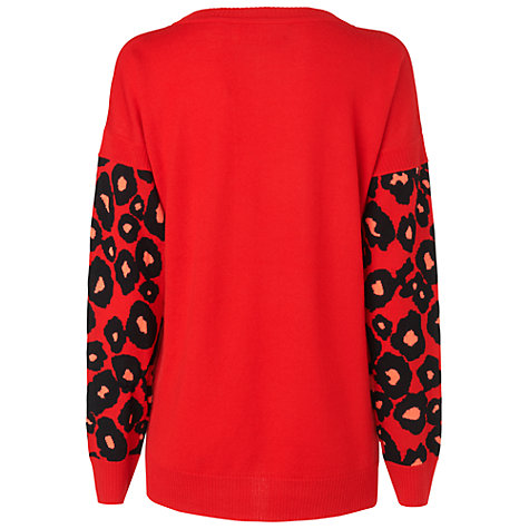 Buy Boutique by Jaeger Blurred Floral Jumper, Red Online at johnlewis.com
