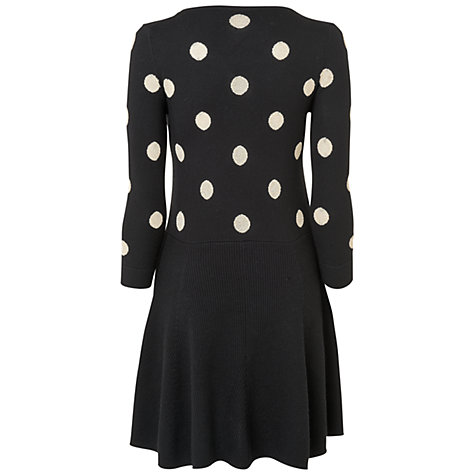 Buy Jaeger Polka Dot Knit Dress, Black Online at johnlewis.com