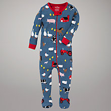 Buy Hatley Farmyard Sleepsuit, Blue Online at johnlewis.com
