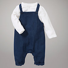 Buy Kin by John Lewis Grandad Collar Top and Dungarees, Navy Online at johnlewis.com