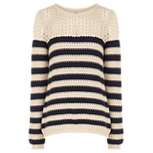 Buy Oasis Cotton Striped Jumper, Neutral Online at johnlewis.com