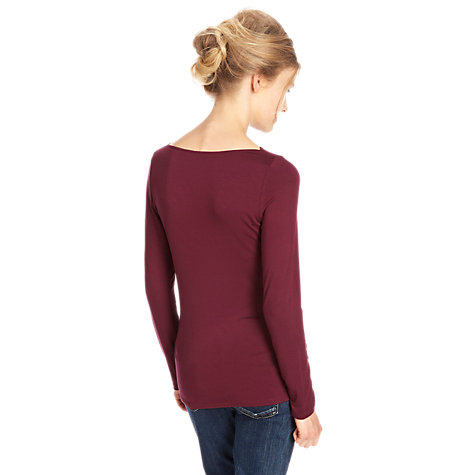 Buy Oasis Long Sleeve Fitted T-Shirt, Red Online at johnlewis.com