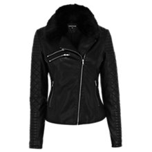 Buy Warehouse Quilted Faux Fur Jacket, Black Online at johnlewis.com