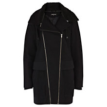Buy Warehouse Borg Collar Zip Boyfriend Coat, Black Online at johnlewis.com