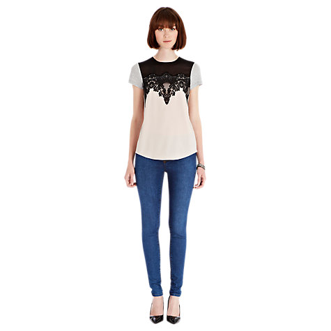 Buy Warehouse Scallop Lace Jersey Mix T-Shirt, Neutrals Online at johnlewis.com