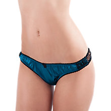 Buy Mimi Holliday Bisou Bisou Satin Thong, Peacock / Black Online at johnlewis.com