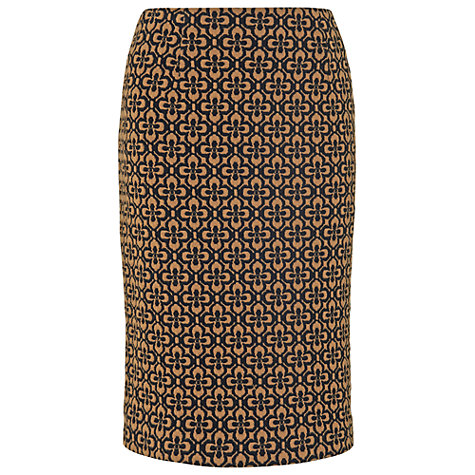 Buy Phase Eight Dee Flower Jacquard Skirt, Black/Camel Online at johnlewis.com