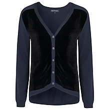 Buy French Connection Utility Velvet Cardigan, Blue/Black Velvet Online at johnlewis.com