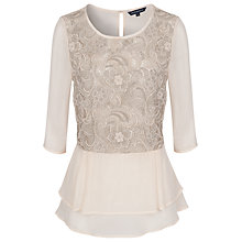 Buy French Connection Lana Peplum Top, Milkshake Online at johnlewis.com