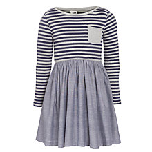 Buy Kin by John Lewis Girls' Jersey Stripe Dress, Chambray Online at johnlewis.com