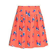 Buy John Lewis Girl Bird Print Jersey Skirt, Hot Coral Online at johnlewis.com