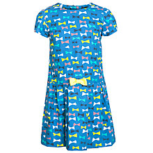Buy John Lewis Girl Bow Print Dress, Light Cobalt Online at johnlewis.com