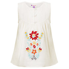 Buy John Lewis Girl Floral Embroidered Tunic, White Online at johnlewis.com