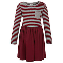 Buy Kin by John Lewis Girls' Jersey Stripe Dress, Burgundy Online at johnlewis.com