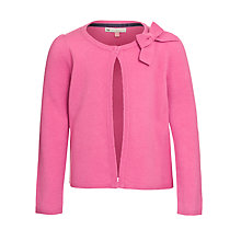 Buy John Lewis Girl Bow Long Sleeve Cardigan, Pink Online at johnlewis.com