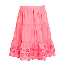 Buy John Lewis Girl Broderie Tiered Cotton Skirt, Pink Online at johnlewis.com