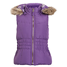 Buy John Lewis Girl Gilet with Faux Fur Trim, Purple Online at johnlewis.com